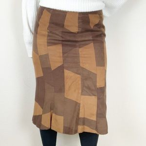 The Limited faux suede patchwork knee length skirt